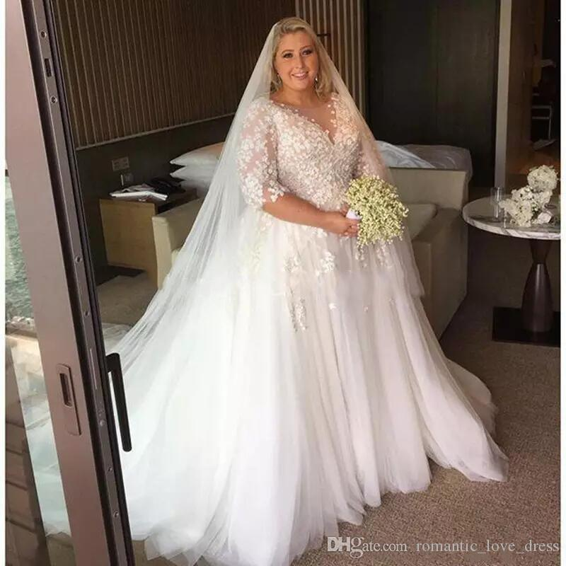 Discount Half Sleeve Plus Size Wedding Dresses 2019 New Custom Sweep Train  Applique A Line Lace Tulle Sheer Bridal Gowns Vestido De Noiva W061 Wedding  ...