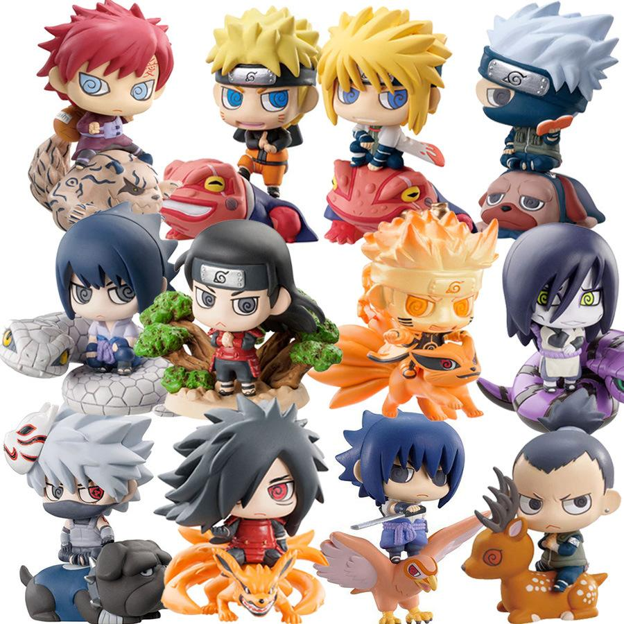 6pcs / set Pop Naruto Sasuke Uzumaki Kakashi Gaara Action With Mounts Figures Japan Anime Collects Gifts Toys WX171
