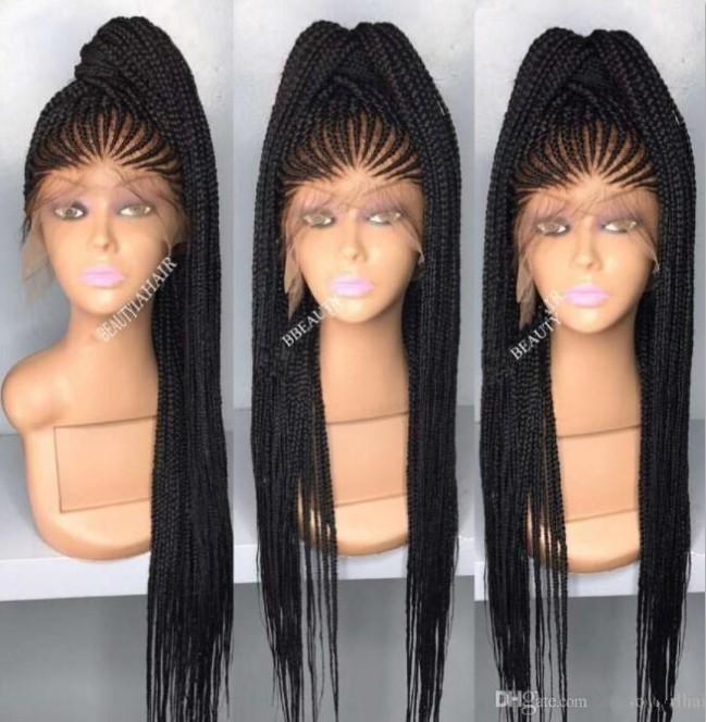 África Americana Box trenzas Peluca de cabello Peluca de encaje Frontal Densidad 200% Color negro Peluca de encaje de pelo sintético para mujeres negras Envío libre