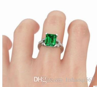 nobre baixo preço de alta qualidade por atacado 3 unidades / lotes de diamante de cristal jade 925 tamanho do anel da senhora de prata 6-10 (3.5)