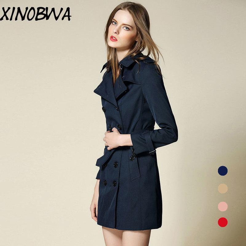 유럽 새로운 여성 봄과 가을 높은 패션 더블 브레스트 차례 칼라 긴 트렌치 코트 여성 우아한 Office Outwear