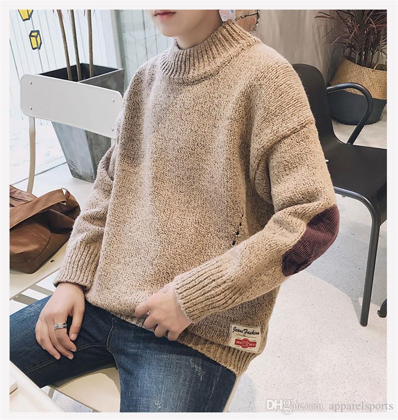 Hombre del diseñador de moda grueso jersey de manga larga Casual adolescente Kniter Tops para hombre otoño invierno suéter suéter