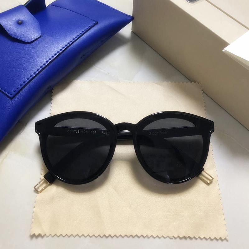 2019 Siyah Peter Kadınlar Güneş Kore Nazik Güneş Canavar Yıldız Sunglass Moda Lady Vintage Orjinal Paketi