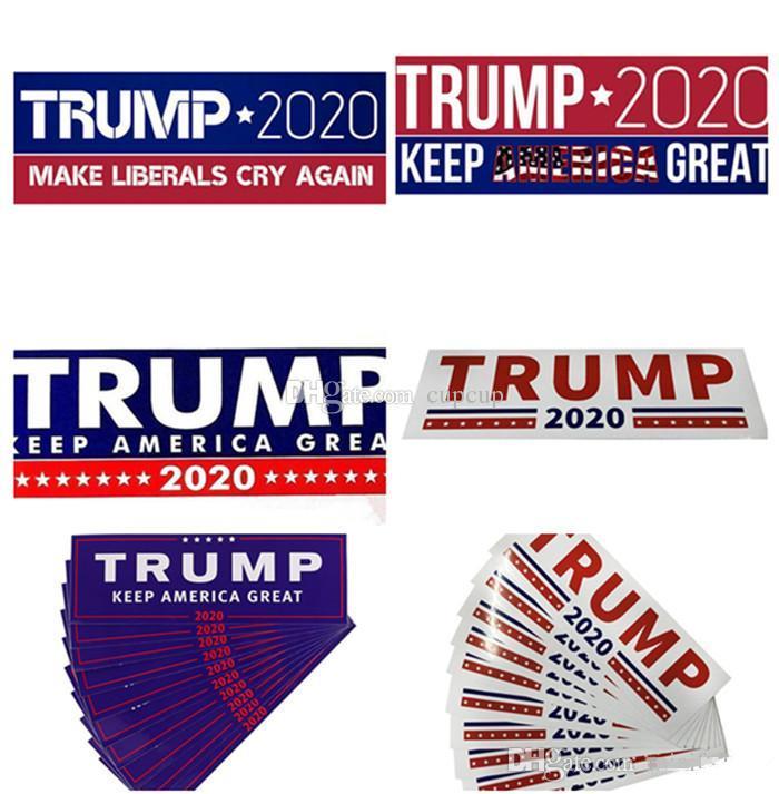 HOT دونالد ترامب 2020 ملصقات السيارات 7.6 * 22.9cm الوفير ملصق الاحتفاظ جعل أميركا مائي عظيم لسيارة التصميم سيارة المقرب 3 جديد