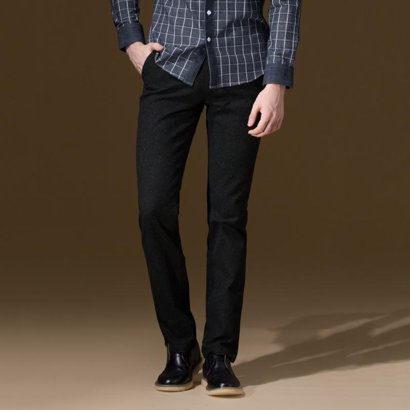 High Quality 2020 Men Autumn Winter Warm Men Leisure Fashion Mid Waisted Slim Long Pants Business Young Man Casual Pant Thicken