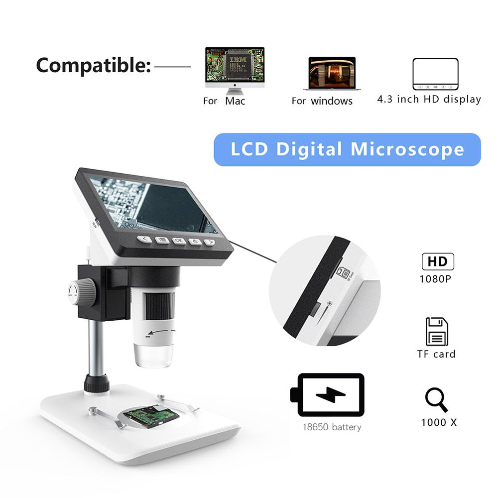 TMY 1000X 4.3 1080P 8 LEDs USB Microscope Digital Electronic Microscope Support for Soldering Camera with Battery Digital Magnifier