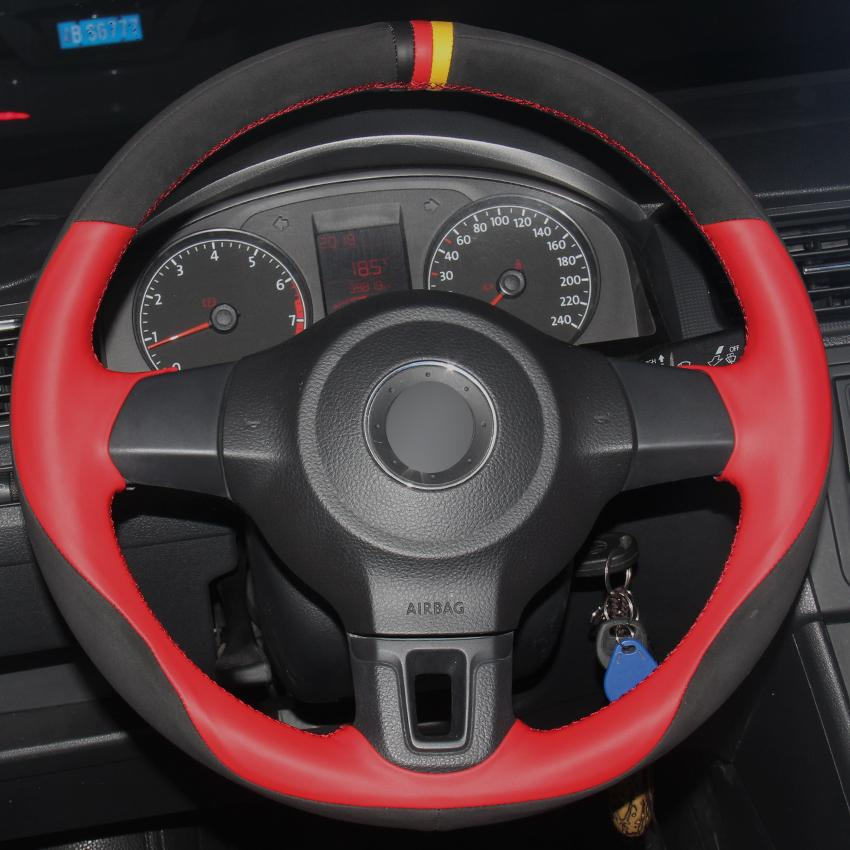 Red Natural Leather Black Suede Car Steering Wheel Cover for Volkswagen Golf 6 Mk6 2010-2013 VW Polo MK5 2010-2013