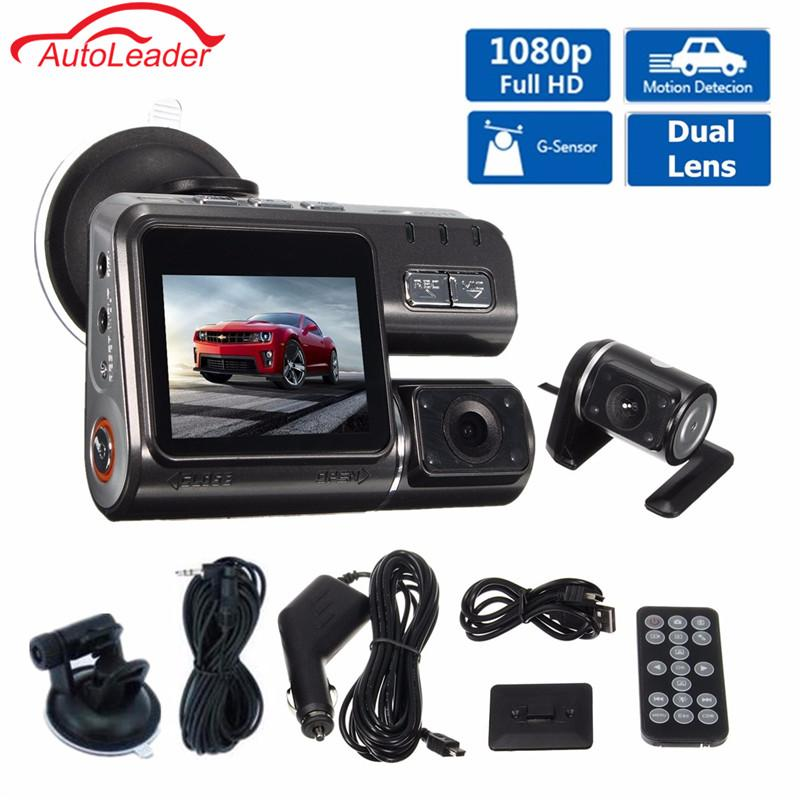 "Freeshipping Dual Lens Car DVR Camera I1000 Full HD 1080P 2.0""LCD Dash Cam+8 IR LED Light Night Vision H.264 Rotatable Lens Video Recorder"