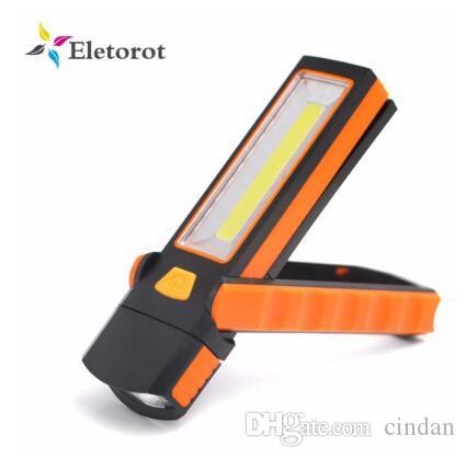 Super Bright COB ajustável LED Luz de trabalho Lanternas Inspeção Lamp Tocha Camping Magnetic Tent Lanterna com gancho de geladeira