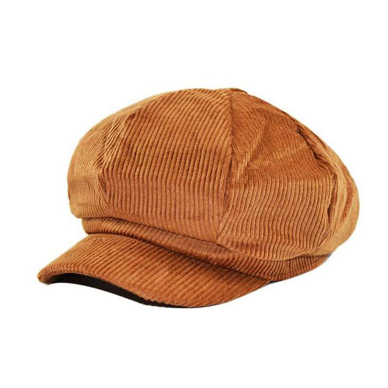 Herbst-Winter-Frauen Octagonal Hüte Schirmmütze Einfache gestreifte Painter Hat Female Beret Wohnungen Warmer Caps Sombreros Mujer