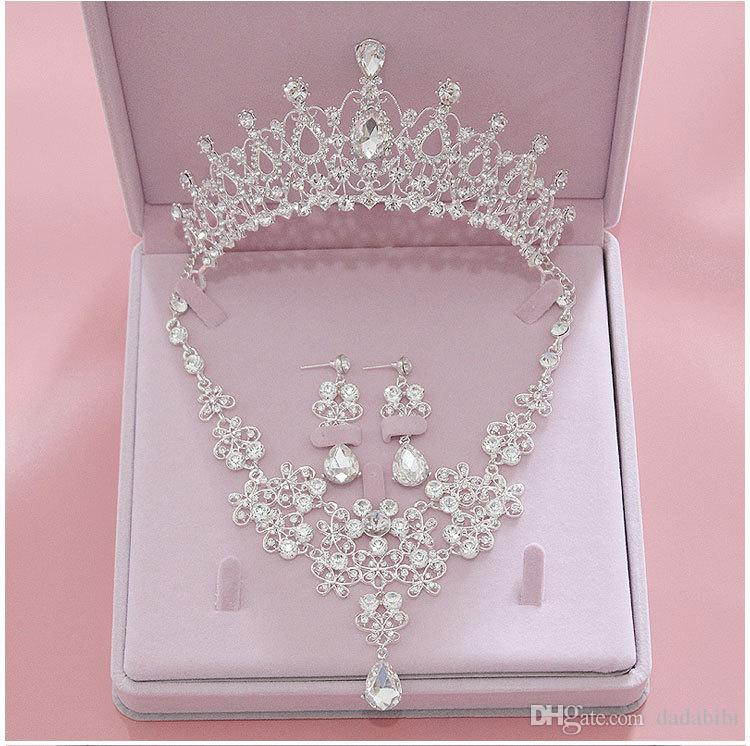 Bling Bling Set Crowns Necklace Earrings Alloy Crystal Sequined Bridal Jewelry Accessories Wedding Tiaras Headpieces Hair