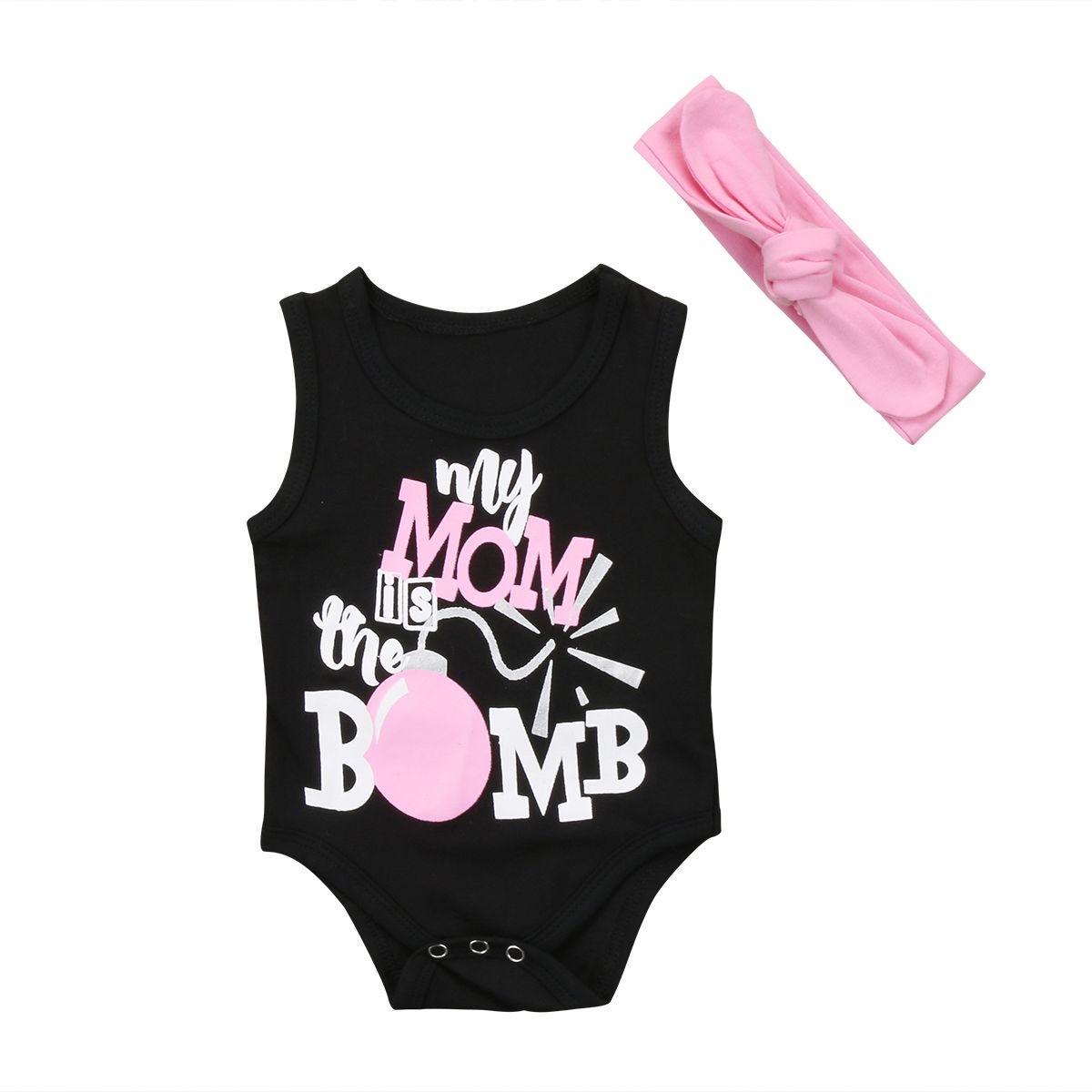 Yürüyor Bebek Bebek Kız Erkek Çocuk Bodysuit Kolsuz Kıyafetler Giyim Seti Kafa 2PCS Seti Günlük Moda Letter Giyim