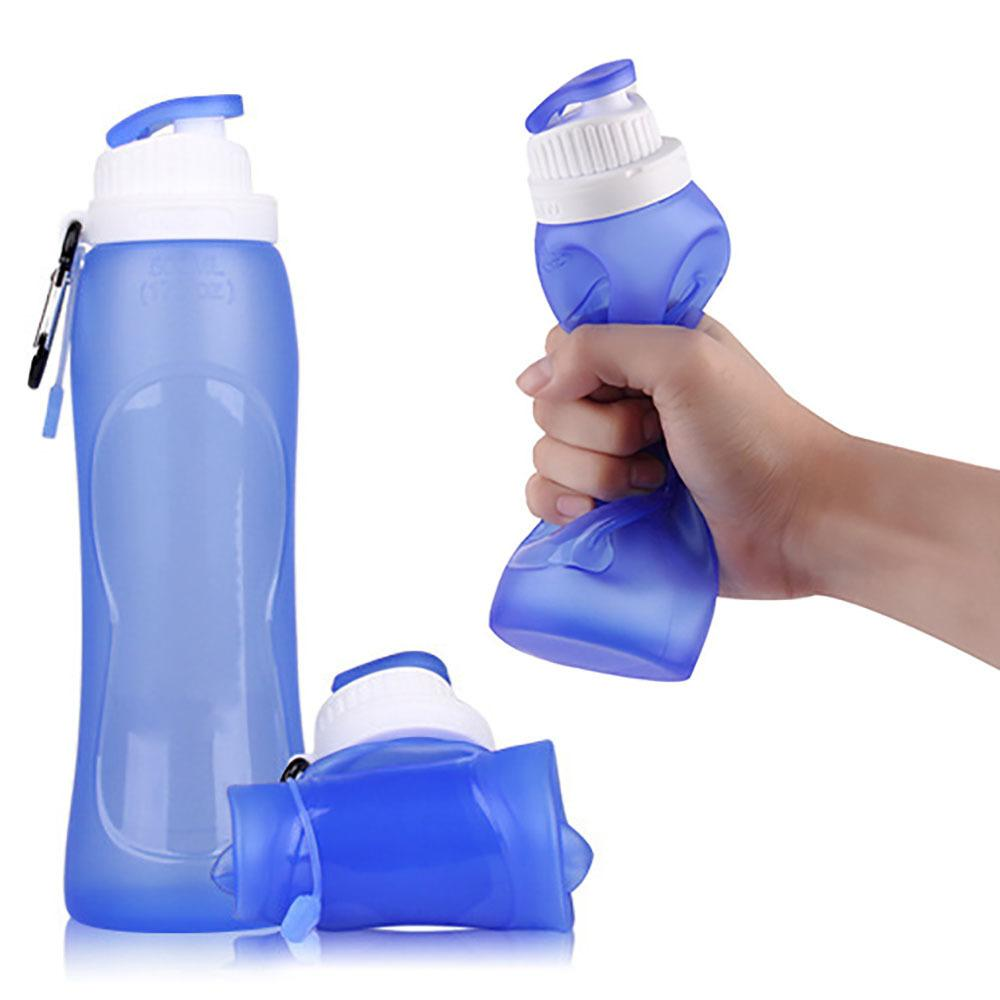 500 ml 크리 에이 티브 야외 접이식 실리콘 물병 캠핑 여행 자전거 스포츠 접이식 물병 Drinkware