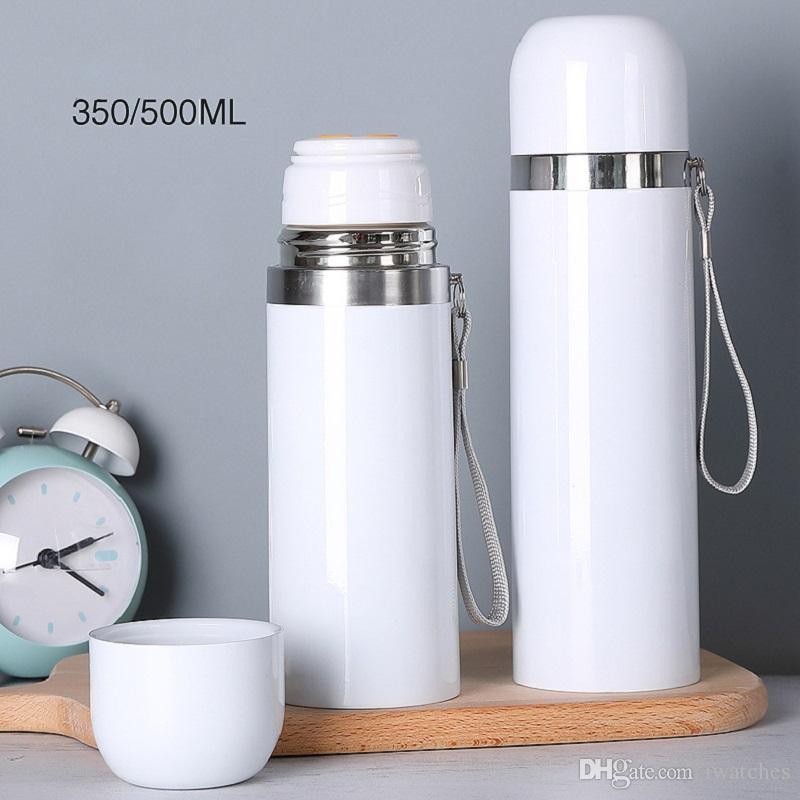 MDF süblimasyon boş 350ml / 500ml ısı transferi fincan DIY 304 paslanmaz çelik termos bardak beyaz boya kaplı fincan