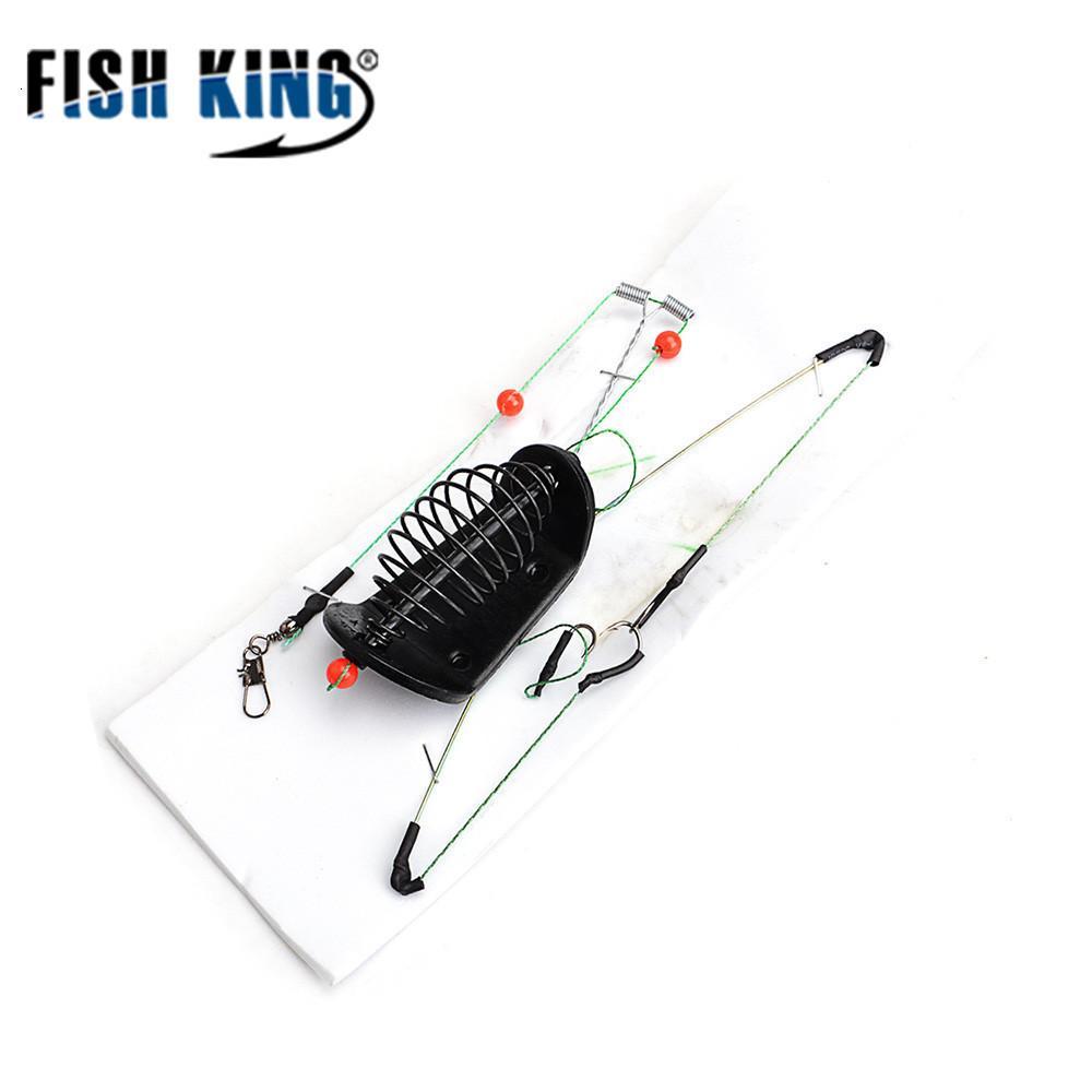 FISH KING 1PC 20G-100G Comprimento 39cm Três ganchos de pesca de isca gaiola levar chumbada giratória com linha ganchos para Feeder Carp