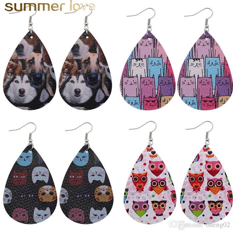 Cute Animal Print PU Leather Dangle Earring for Women Double Side Cat Dog Owl Pattern Waterdrop Faux Leather Earrings Party Jewelry Gift