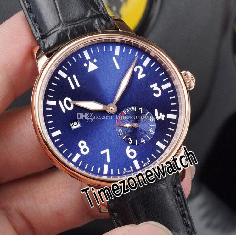 New 42mm 7 Days Power Reserve Rose Gold Blue Dial Automatic Mens Watch Brown Leather Sapphire Watches High Quality Timezonewatch E20b2