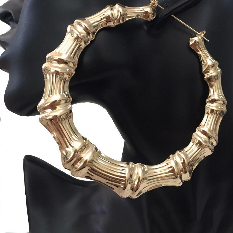 여성 문 쥬얼리의 새로운 펑크 큰 황금 대나무 원형 귀걸이 알레르기 농구 아내 후프 귀걸이