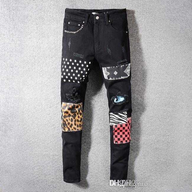 2019 Проблемные рваные джинсы Байкер Slim Fit Мотоцикл Байкер Denim для мужчин Модельер мужчин тощий джинсы шорты налить Hommes