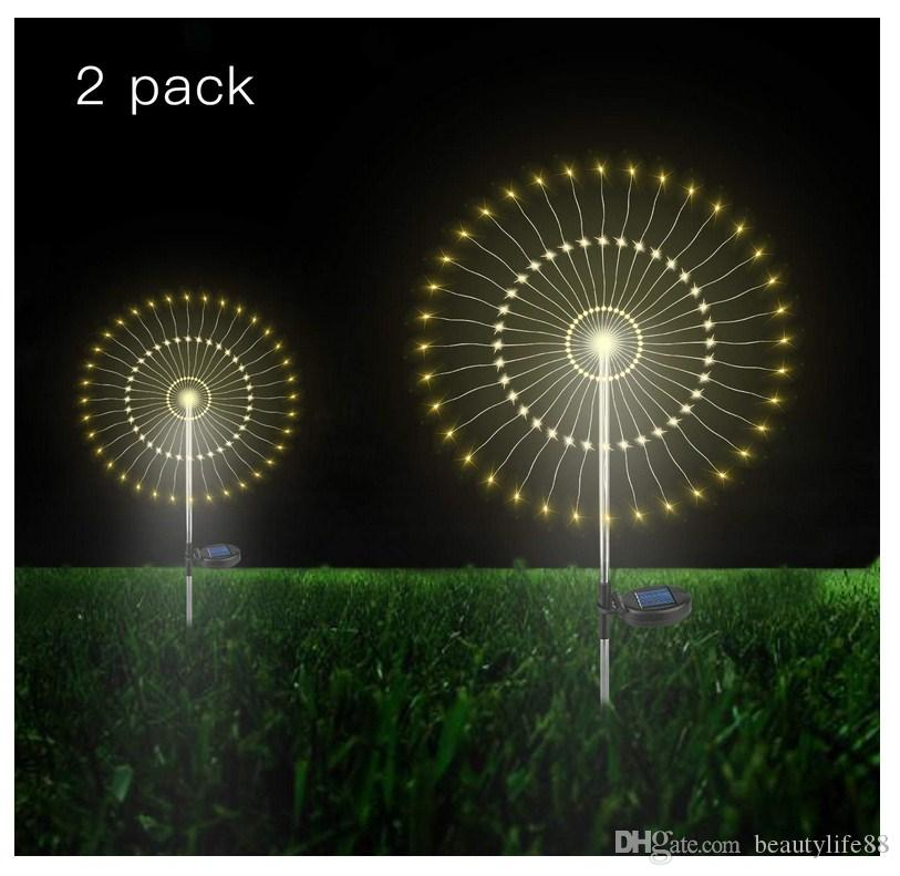 2 حزمة الشمسية حديقة ديكور الأسلاك النحاسية led مليء الجنية سلسلة الأنوار المسار الباحة ماء المشهد فناء حديقة diy زهرة