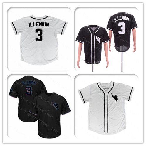 2021 Custom Mens Women Youth Kids 3 ILLENIUM Jersey White Black ...