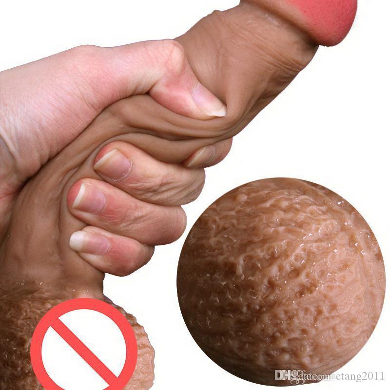 Vera pelle sentirsi in silicone morbido dildo dildo ventosa tazza realistica del pene grande cazzo giocattoli del sesso per i prodotti della donna Strapon Dildos BDSM SM