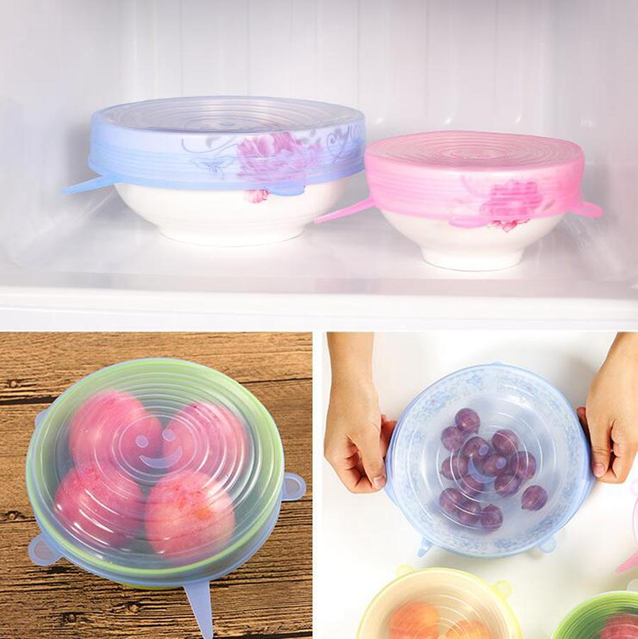 Silicone extensible aspiration Pot Couvercles 6pcs / set de cuisine Cover Pan Bowl Stopper couvercle Fruits durables Légumes Stockage Couvercles OOA8064