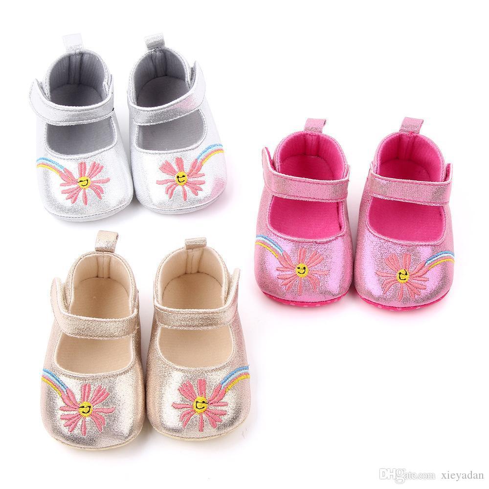 Yumuşak Soled Bebek İlk Yürüyenler Sevimli Bebek ayakkabıları Prenses Bebek Kız PU Bebek Yürüyüş Elbise Shoes