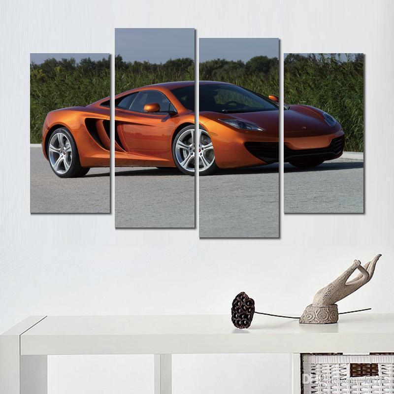 4 panneaux de peinture sur toile mclaren orange moderne home decor picture