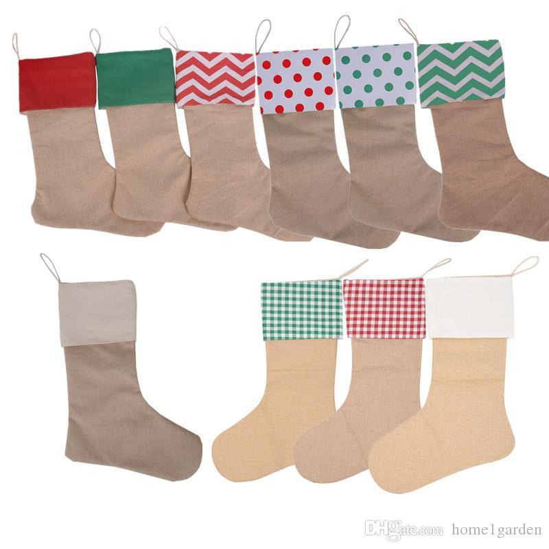 12 * 18inch de Navidad regalo de la media Calcetines Bolsas Lienzo media de Navidad decorativo de Navidad bolsa de gran tamaño
