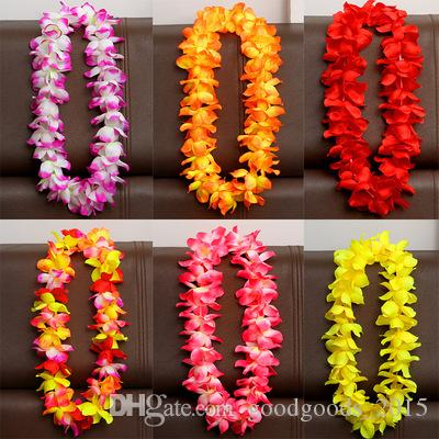 100cm Flower Hawaiian Beach Party Hula Garland Leis Necklace Lei Birthday Party Supplies Wedding Favors 8color DLH178