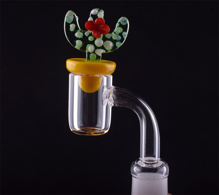 100% Quarz 4 mm dicken Quarz Banger Nagel OD 20mm Domeless 90/45 Grad Quarz Nagel mit Cactus Carb-Kappe für Glasbongs