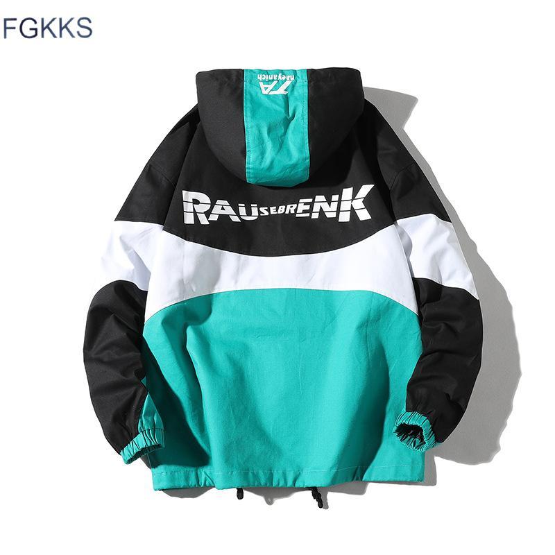 FGKKS Marca de Moda Jaquetas Homens 2019 Outono Masculino Bomber Hip Hop Splice Jacket Jaquetas de Roupas de Rua dos homens Outwear