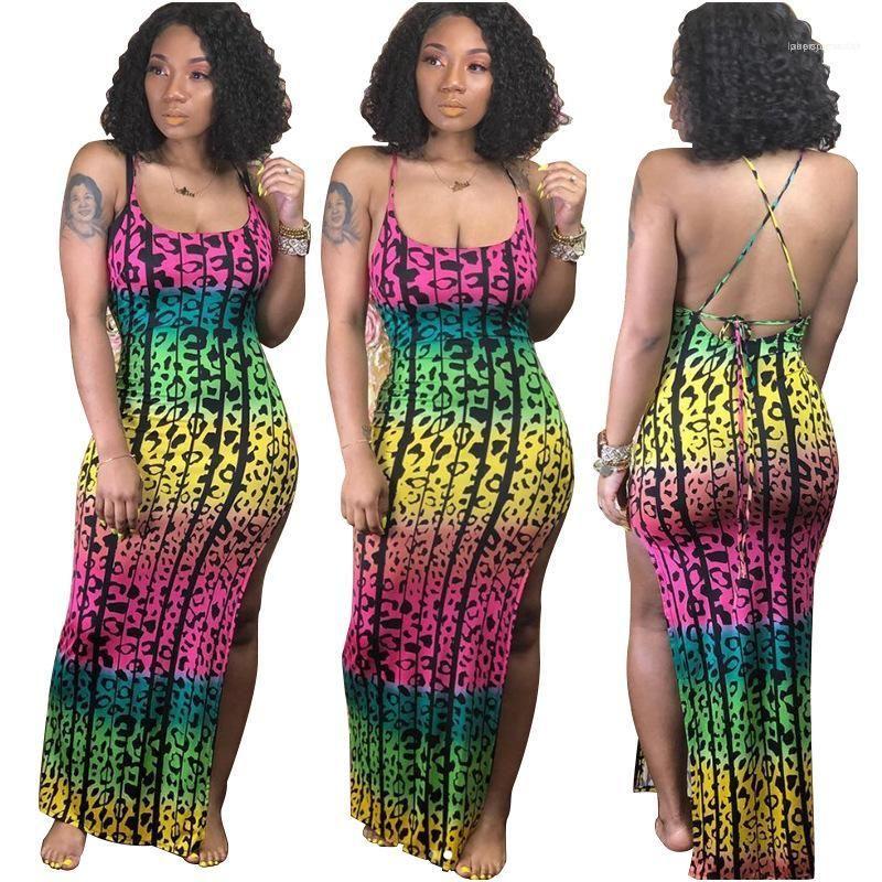 Kadınlar Seksi BODYCON Elbiseler Yaz Spagetti Askı Giyinme Bölünmüş Yukarı Uzun Elbise Renkli Leopar