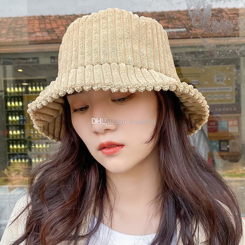 Nueva pana invierno del sombrero del cubo para la muchacha de las mujeres de moda Caps Solid Panamá Pesca del otoño plano exterior Pescador sombreros de ala del capo Femme Tacaño