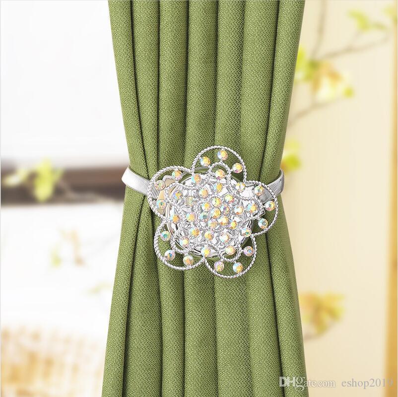 자석 커튼 버클 4 색 크리스탈 커튼 클립먼트 홈 창 장식 꽃 커튼 걸쇠 링 홈 장식 타이