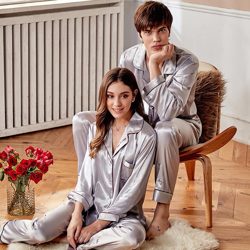 Xifenni pyjama de soie Sets Femme Silky haute qualité Faux soie Couple de nuit Homme Femme Vêtements Pantalons Ensembles Deux Pièces X9942