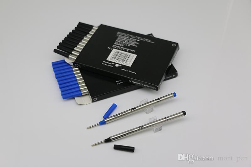 Novo lote de 12 Pcs MB Rollerball Pen preto / azul 710 Recargas Medium Point pode misto colocação com tampa de recargas