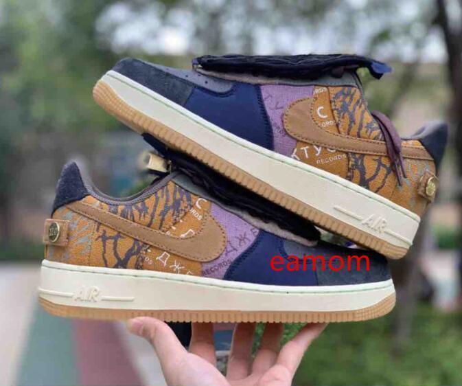 Travis Düşük 1 Cactus Jack 1S Günlük Ayakkabılar Beyaz Ayakkabı Mor Lacivert Renk Sessizleştirilen Tunç Erkek Ayakkabı Sneakers Koşu