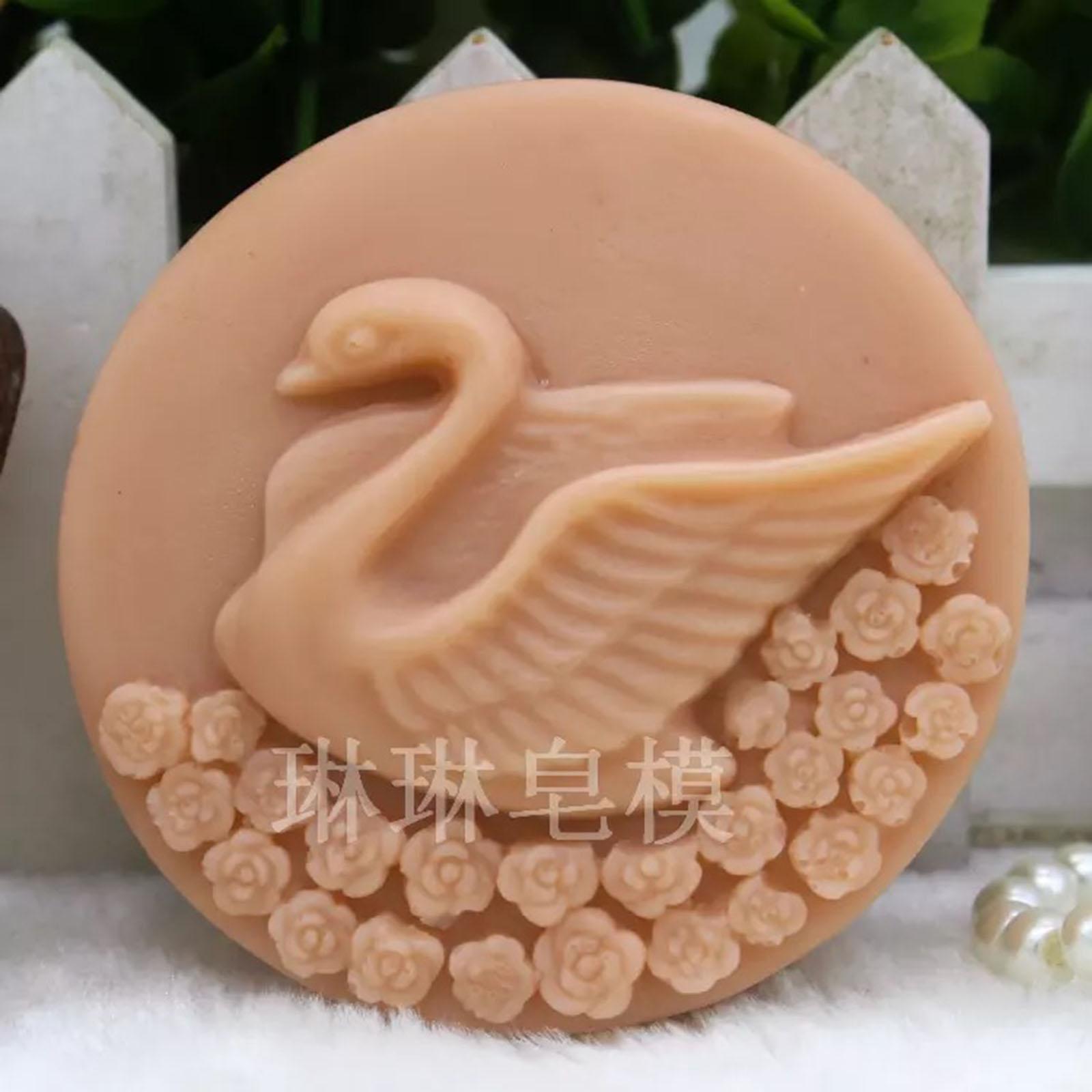 3D molde cisne Silicone forma redonda doces macios sorvete ferramenta bolo de aniversário decoração de açúcar molde sabão de chocolate