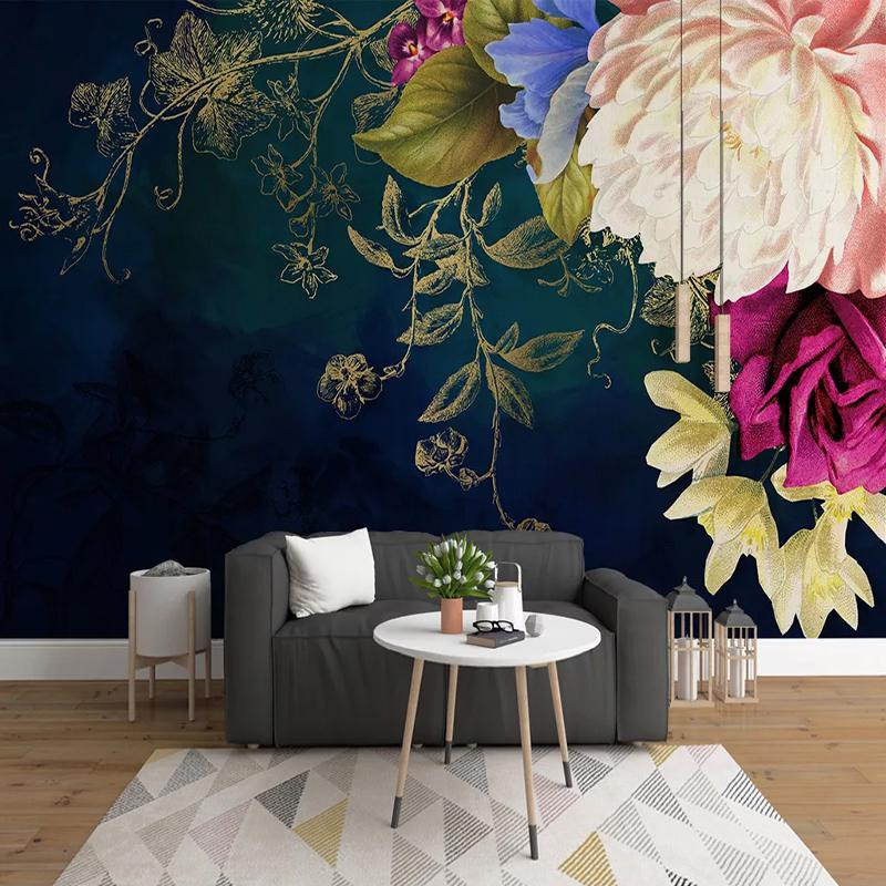 Custom 3D Photo Wallpaper Vintage Rose Flower Mural Wall Decals Living Room Bedroom Background Self-adhesive Sticker Home Decor