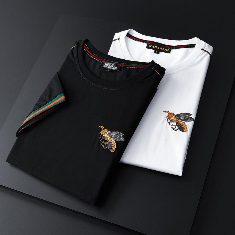 KE0IMen de manches courtes 2020 slim ras du cou brodé jeunesse masculin coude Top à manches T-shirt T18013 #