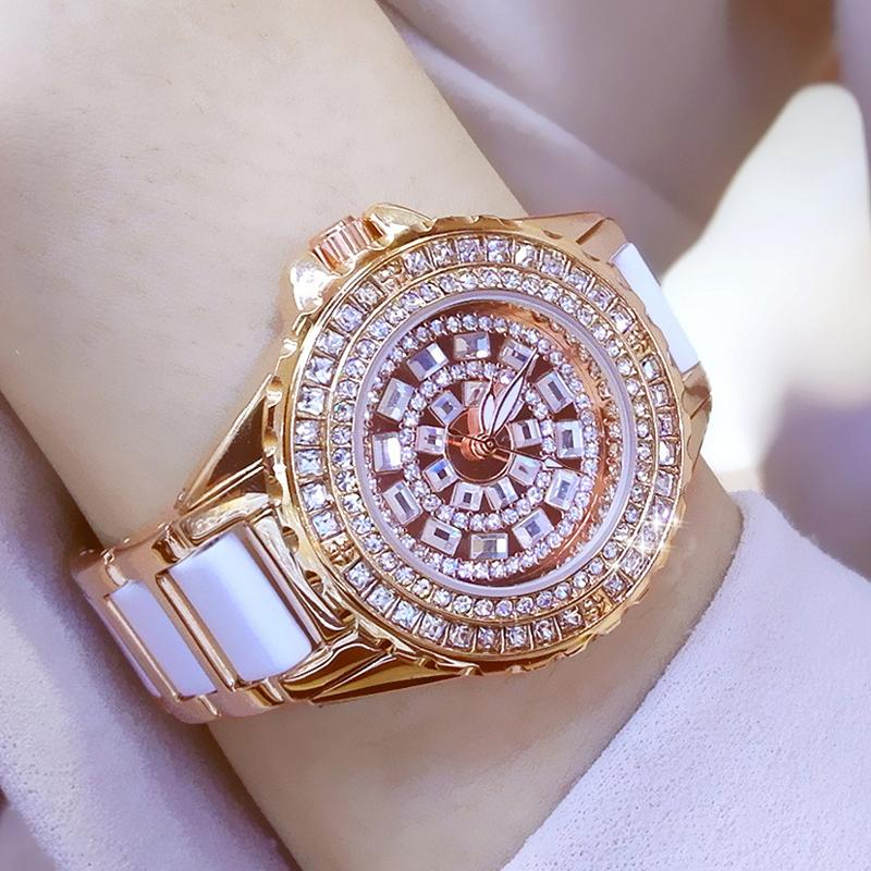 Алмазные Часы Женщины 2019 известная марка Мода Керамические женщин наручные часы Дамы из нержавеющей стали Женский Часы Relogio Feminino V191217