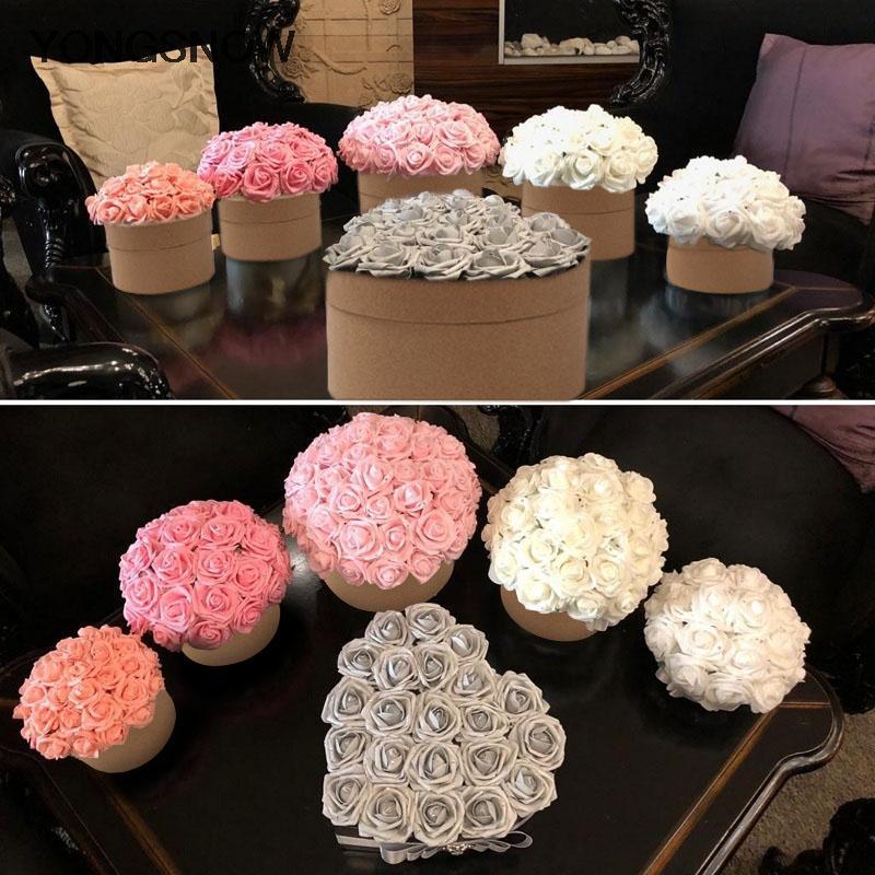 10pcs 8cm große PE-Schaum-Blumen-künstliche Rosen-Blumen-Braut Blumenstrauß Hochzeit Dekoration DIY Scrapbooking Fertigkeit Gefälschte Blume