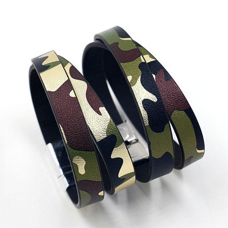 New Punk Handgemachte Tarnung Leder-Charme-Armband-Armband-Armband-Stulpe für Mann-Frauen-Liebhaber Schmuck Geschenk