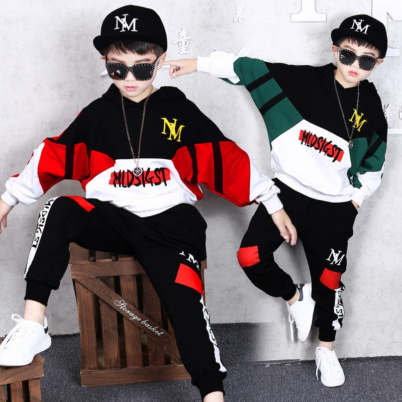 2 Sets Children's Clothing Boys Autumn and Winter Jacket + Trousers New Handsome Children's Casual Sweater Sports Models Hip Hop Two-piece