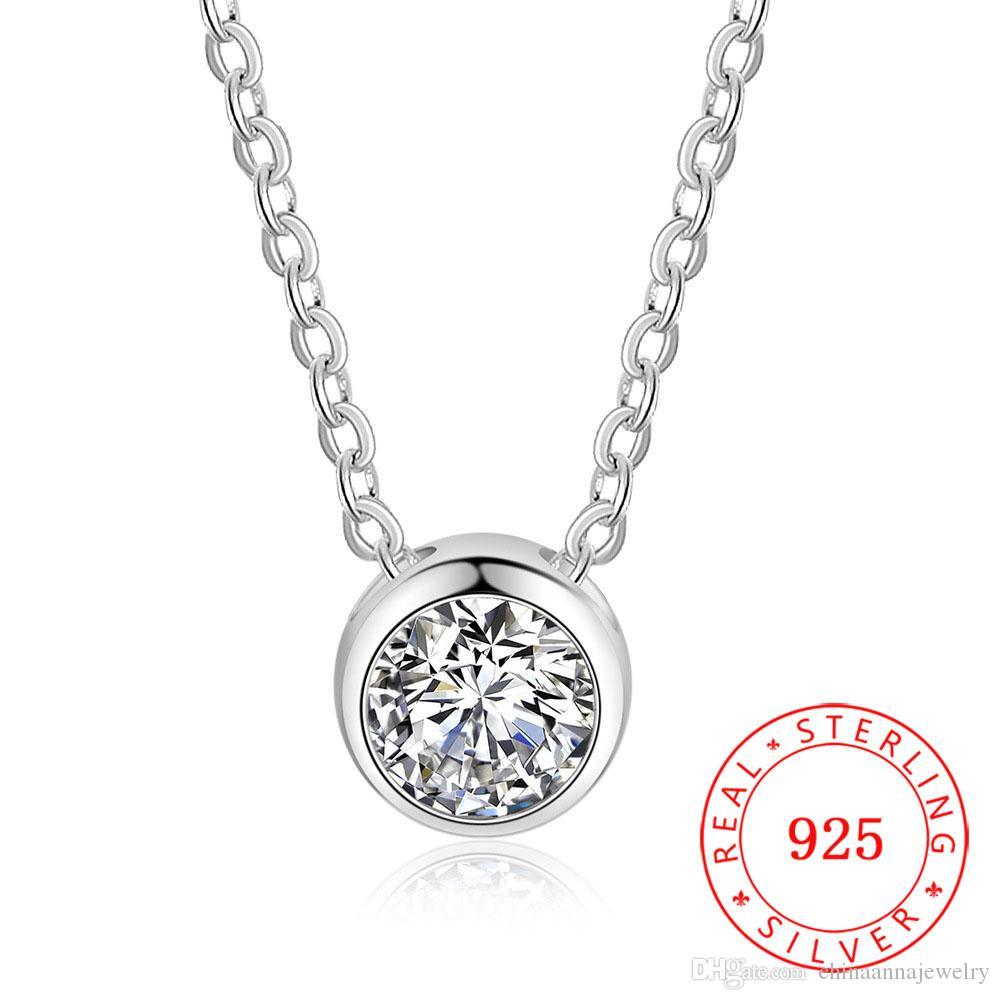 белый CZ камень круглой формы стерлингового серебра кулон женщин ювелирные изделия шарма ожерелья Циркон Главный камень 925 Серебряный кулон для женщин