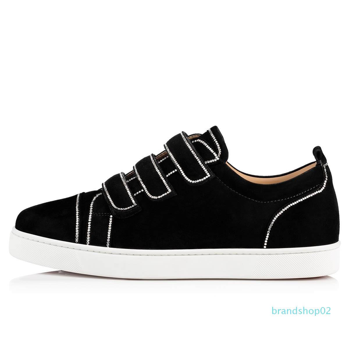 Cult-favori Red Sole Sneaker Bottom Kiddo Bordo Nouveau style, le bas chausse junior en daim noir skate homme en cuir + Velcro Avec Strass-cristal