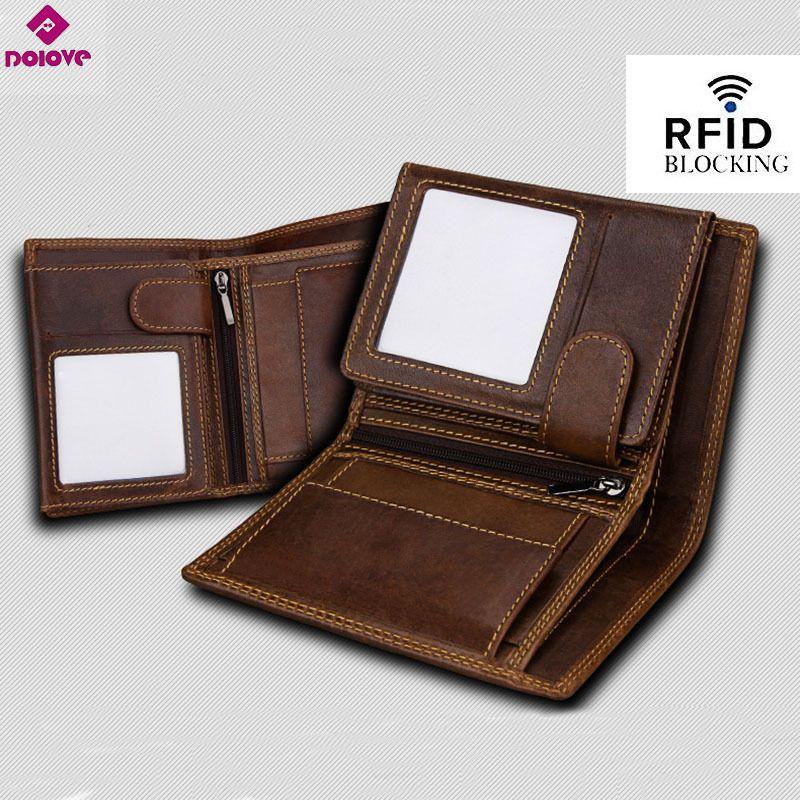 100/% Genuine Cow hide Leather Vintage Pattern Purse Men/'s RFID Wallet ID Holder
