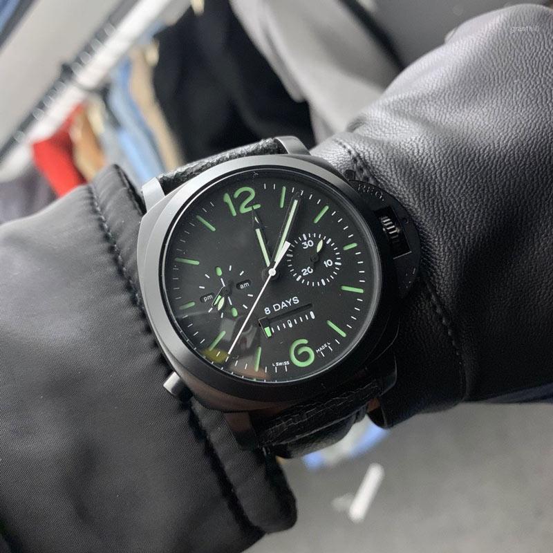 Herrenuhren Automatikwerk 44mm * 15mm Edelstahl 316L Uhrgehäuse Lederarmband Luxus Watches1